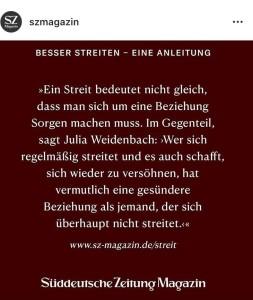 Interview mit SZ-Magazin, Instagram-Screenshot vom 21.10.2020